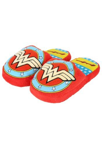 This is a pair of scuff slippers featuring the Wonder Woman logo.