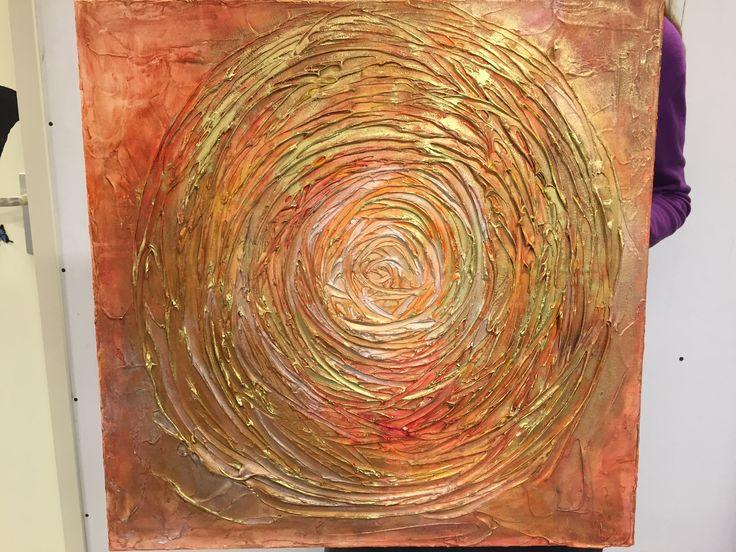 Eén van mijn cursisten heeft De cirkel is rond geschilderd bij Irene's Atelier. Voor haar nieuwe woning.