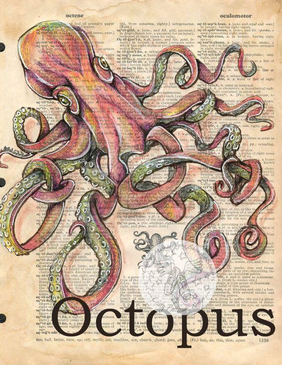 AFDRUKKEN: Octopus gemengde Media tekening op antieke woordenlijst pagina
