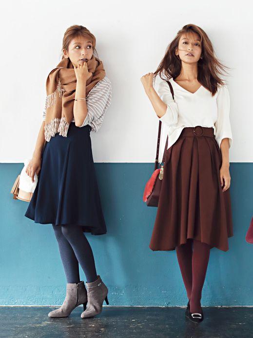 カラータイツで脚長効果♪ 小柄女子のスタイルアップ術 #大石参月 #カラータイツ #fashion #women #tights