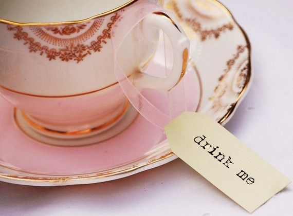 Drink Me Tea Cup Tags - pastel green and pink