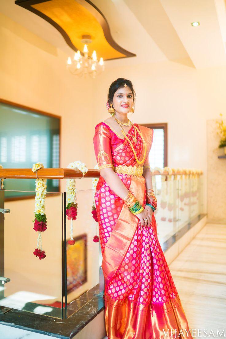 South Indian bride. Gold Indian bridal jewelry.Temple jewelry. Jhumkis. Red silk kanchipuram sari. Braid with fresh jasmine flowers. Tamil bride. Telugu bride. Kannada bride. Hindu bride. Malayalee bride.Kerala bride.South Indian wedding. Pinterest: @deepa8