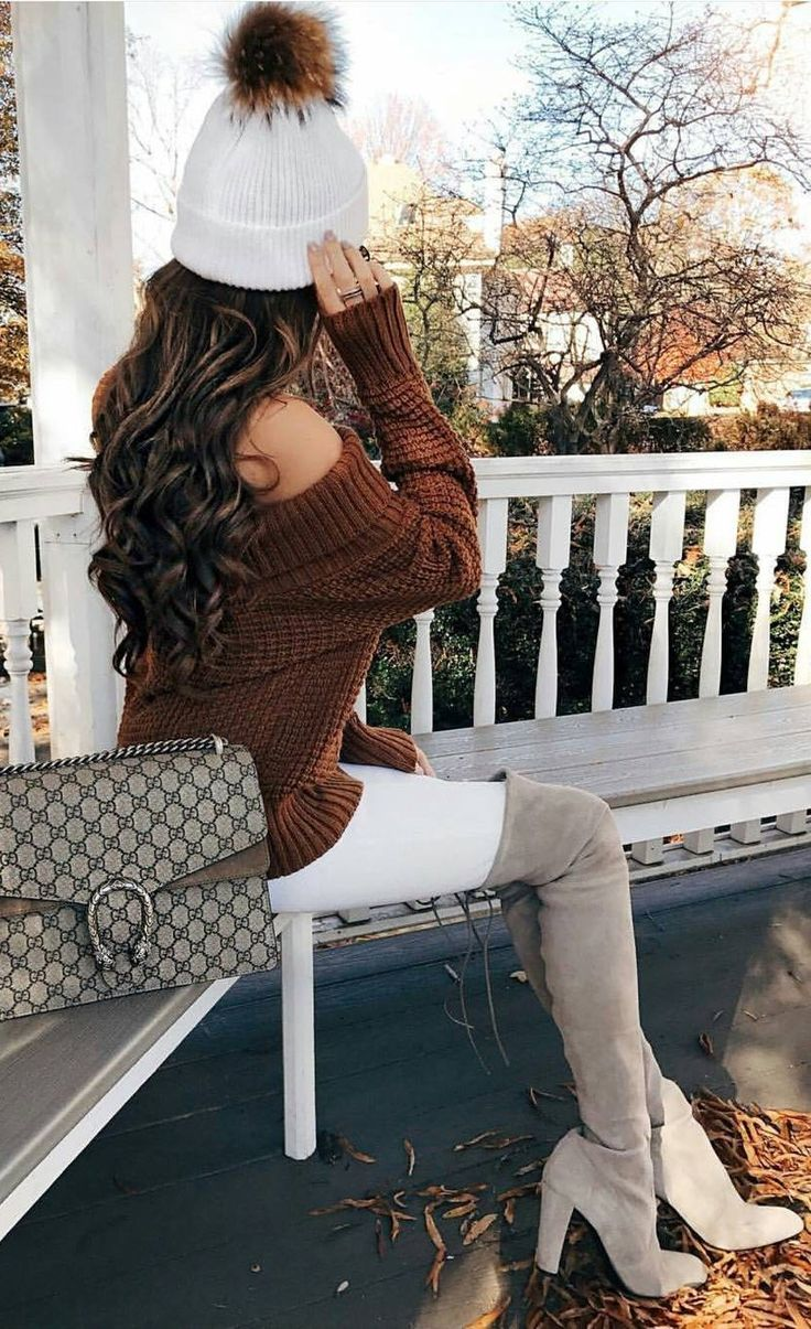 #winter #fashion /  White Beanie & Skinny Jeans + Brown Off Shoulder Knit