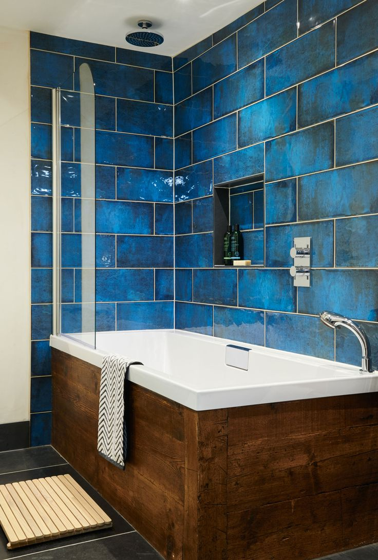 Bathroom kitchen update existing designer magazine design for Blue tile bathroom ideas