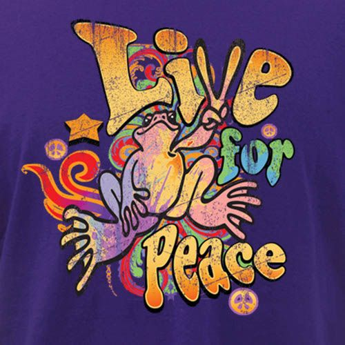 """Live for Peace #HippieFont  ___Peace Frog"