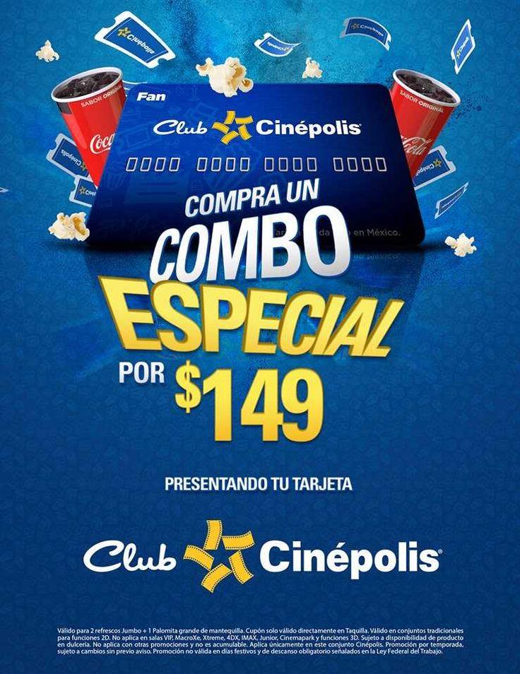 Con tu tarjeta club Cinépolis, recuerda pedir tu combo especial en taquilla que consta de 2 Refrescos Jumbo + 1 Palomitas Grande + 2 Entras en formato 2D.