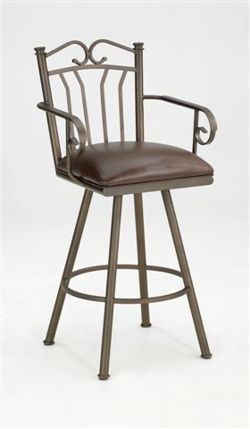 """Iron Mountain IM8815-01026-G Lauren Swivel Counter Stool 26"""" Height with Arms"""