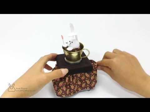 Automata'Rabbit in Cup'-mixed media/metal work/brass/rabbit/doll/automata/kinetic