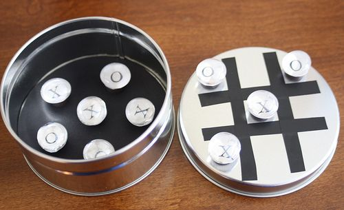 Tic Tac Toe game made with magnets, tin/metal containers and glass gems...