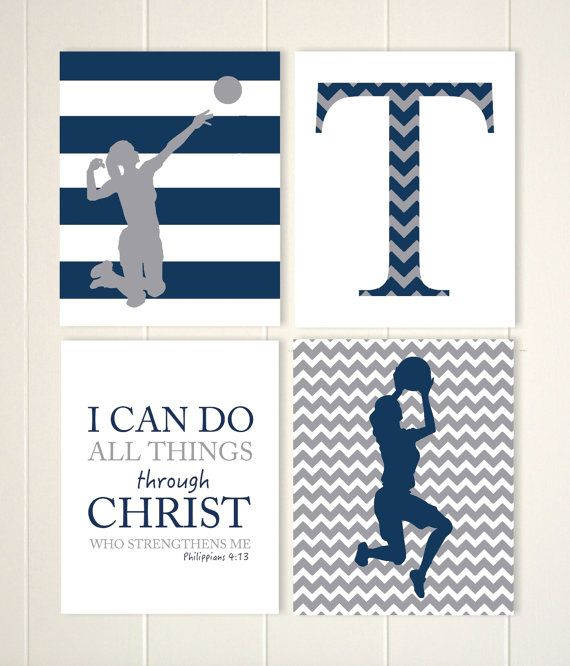 Volleyball Girls Art, Basketball Wall Art, Tween Girl Wall Art, Girls  Motivational Art, Girls Bedroom Decor, Sports Art, Set Of 4 Prints