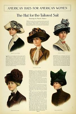 1911 Article Edwardian Lady Fashion Women Tea Hats Toques Accessories Millinery