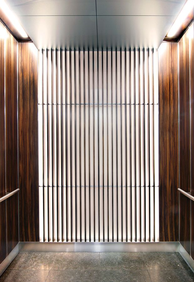 Custom Elevator Interior By Eklundu0027s   Wood Veneer And White Backlit Glass