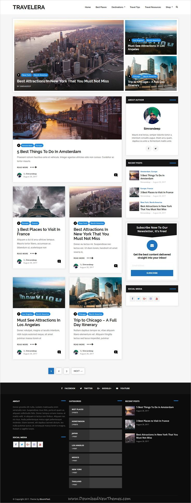 Travelera is clean and modern design responsive #WordPress theme for #travel blog and #blogger website with 5+ unique homepage layouts download now..