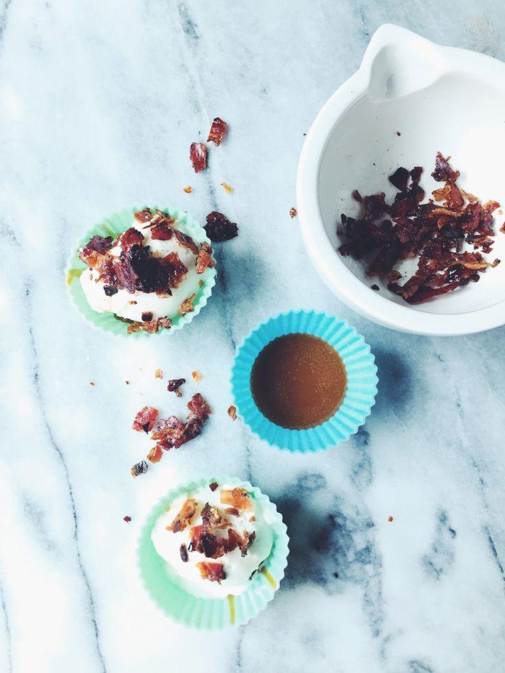 dulce de leche icecream cups with fior di latte gelato and Cointreau glazed pancetta flakes