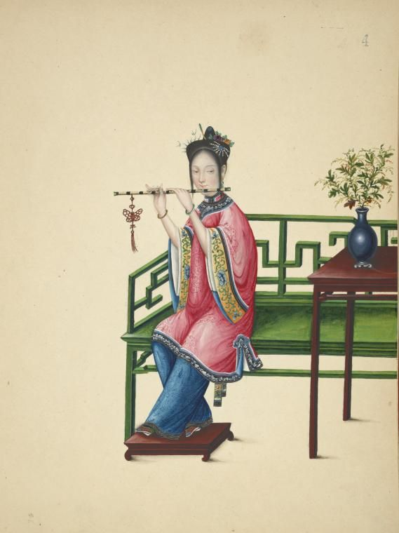 Chinese Woman with Antique Traditional Musical Instrument Flute Dizi