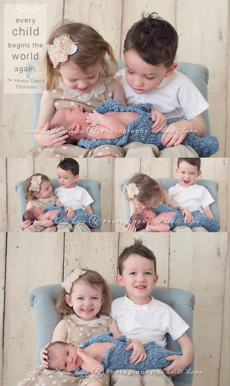 Siblings with newborn by heidi hope photography