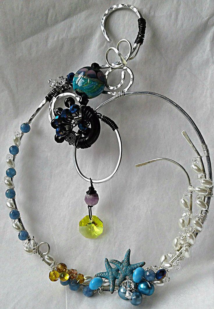 """Sea of Dreams"" suncatcher using gifted lampwork, swarovski, pearl, starfish."