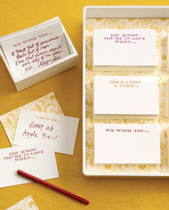 Quick: Grab a pen and dash off a few incredibly witty sentences about a friend. Panicked? At a loss for words? That's how some people feel when faced with a blank guest book. Come to their rescue with these conversation-starting phrases printed on recipe-size index cards. Store the cards in a keepsake box after the event.