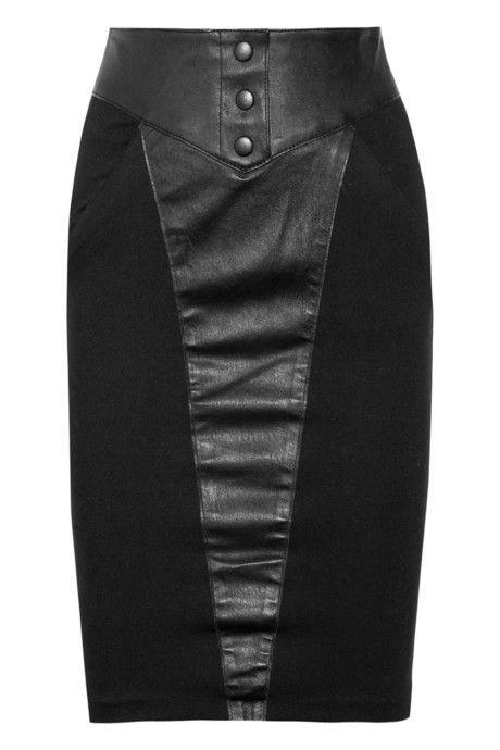 Catherine Malandrino Leather and ponte skirt