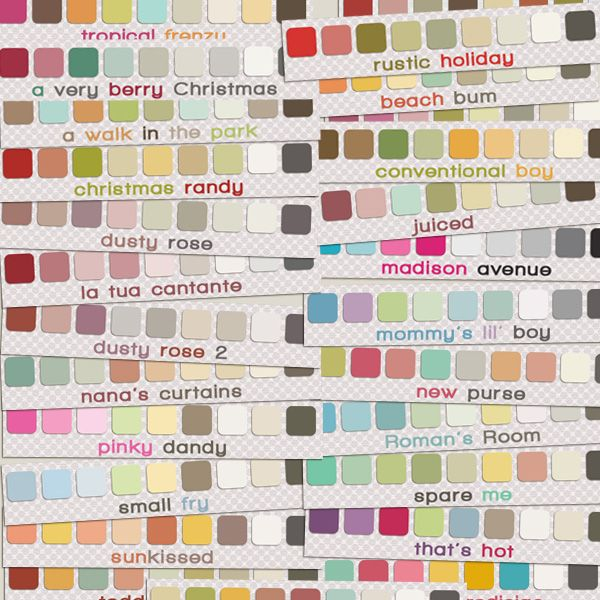 26 free designer photoshop swatches from http://justjaimee.com - Now, I'm going to learn how to install & use them.  Cool colors!