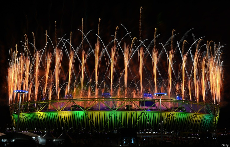 A fireworks display at Olympic Stadium is seen during the Closing Ceremony for the 2012 Summer Olympic Games on August 12, 2012 in London, England.