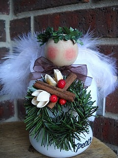 Christmas angel made from an old flood light bulb