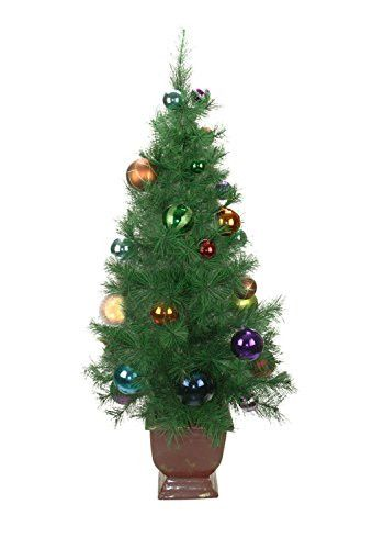 Felices Pascuas Collection 4' Potted Pre-Decorated Multi-Color Ball Ornament Artificial Christmas Tree - Unlit