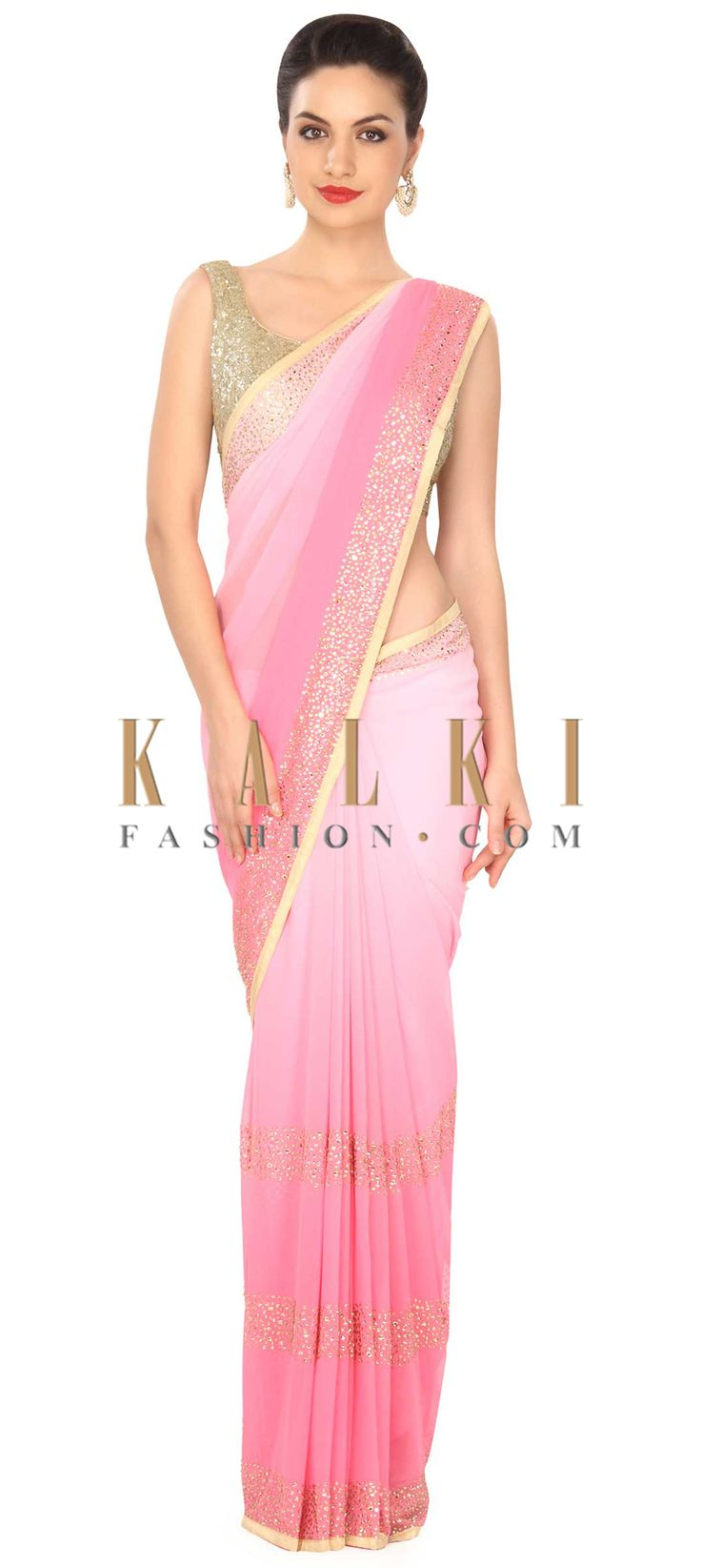 Buy this Pink shaded saree adorn in kundan embroidered border only on Kalki