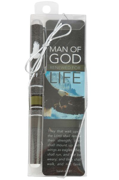 CTA, Inc., Isaiah 40:31 Man of God Bookmark and Pen Gift Set, 1 1/2 x 5 7/8 inches