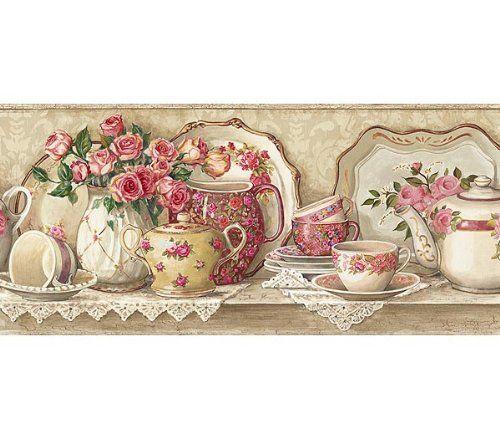 Victorian Rose Wallpaper Border | Victorian Lace Coral Rose Tea Pot Wallpaper Wall Border