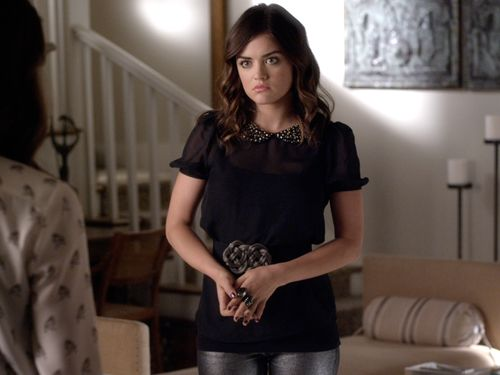 Jeweled collars are all the rage!  Aria (Lucy Hale) shows us how adorable they can be.  Paired with skinny jeans or a cool skirt, the collar does all the work!  Tune in to PLL, Tuesday at 8/7c on ABC Family.