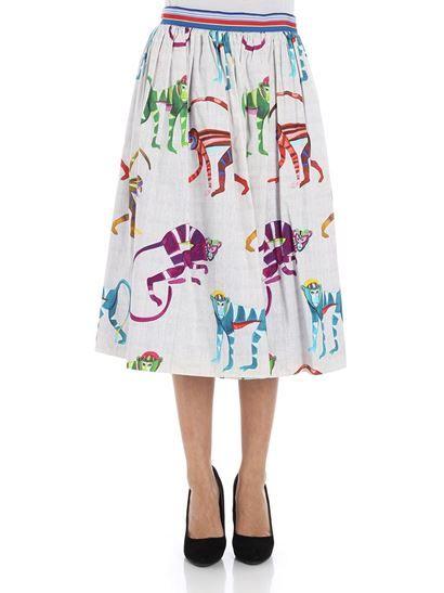 cdaeaecc0e6 Stella Jean Spring Summer 2018 pleated skirt with monkey print - J G 039 00  S 3026 001