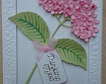 Striking handmade framed Impression Obsession Hydrangea Thinking of You card, embossed pearlised frame, ribbon, sentiment & Flower Soft, - Edit Listing - Etsy