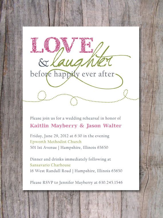 "rehearsal dinner invitations, ""love and laughter before happily ever after"""
