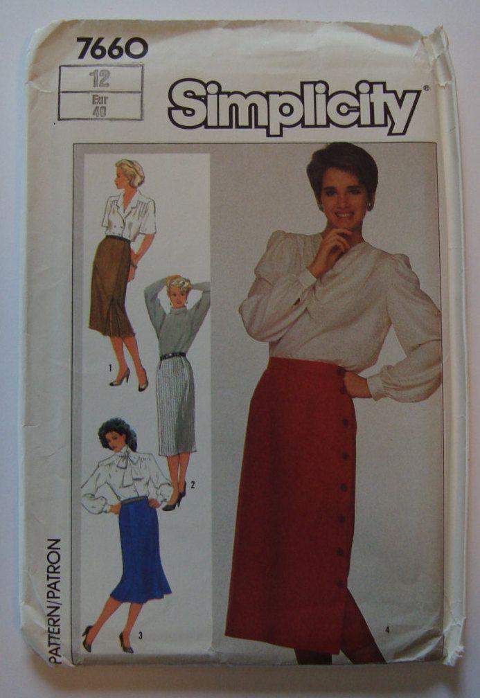 Slim Skirt Sewing Pattern 4 Styles/ Vintage Simplicity Pattern 7660,Size 12/ Double Kick Pleat,Back Slit,Trumpet Skirt,Side Button Closing, by RedWickerBasket on Etsy