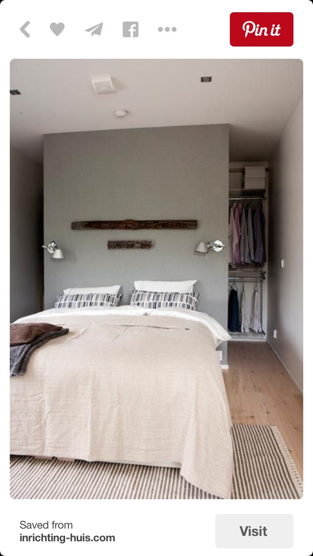 The closets behind bed idea!!! But I do not want to spend money on building a wall to separate the bed and the wardrobe.