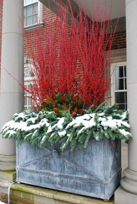 The rectangular pots are large, and were designed to fit in between those columns.  A thicket of Cardinal red twig dogwood and berried Michigan holly stems makes a holiday statement that is visible from a long way away. There are but a four elements in these boxes, but there is a generous amount of each. These boxes also make that porch a more private space.