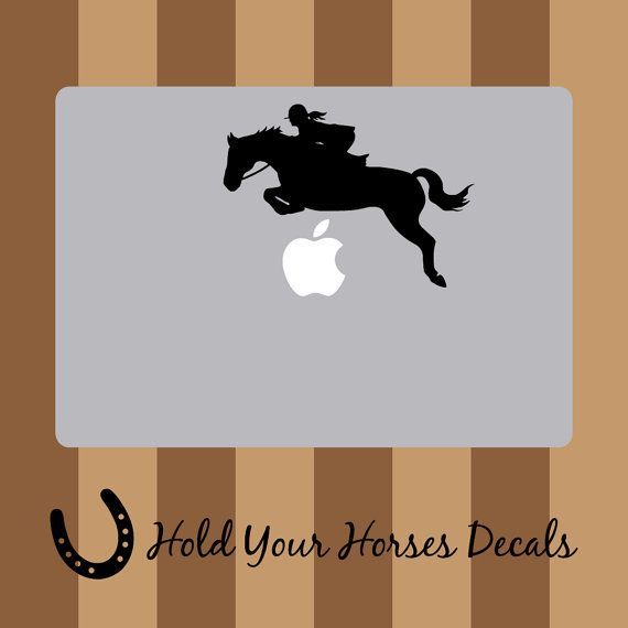 Hunter Jumper Girl  Macbook Decal Vinyl by HoldYourHorsesDecals