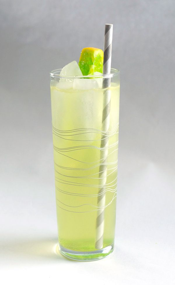 Old Tom's Mistake (Old Tom Gin, Meyer lemon juice, black pepper syrup, Midori liqueur, tonic water)