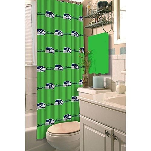NFL Seahawks Shower Curtain 72 X 72 Football Themed Bedding Sports Patterned Team Logo Fan Merchandise Bathroom Curtain Athletic Team Spirit Fan Blue Bright Green Silver Polyester