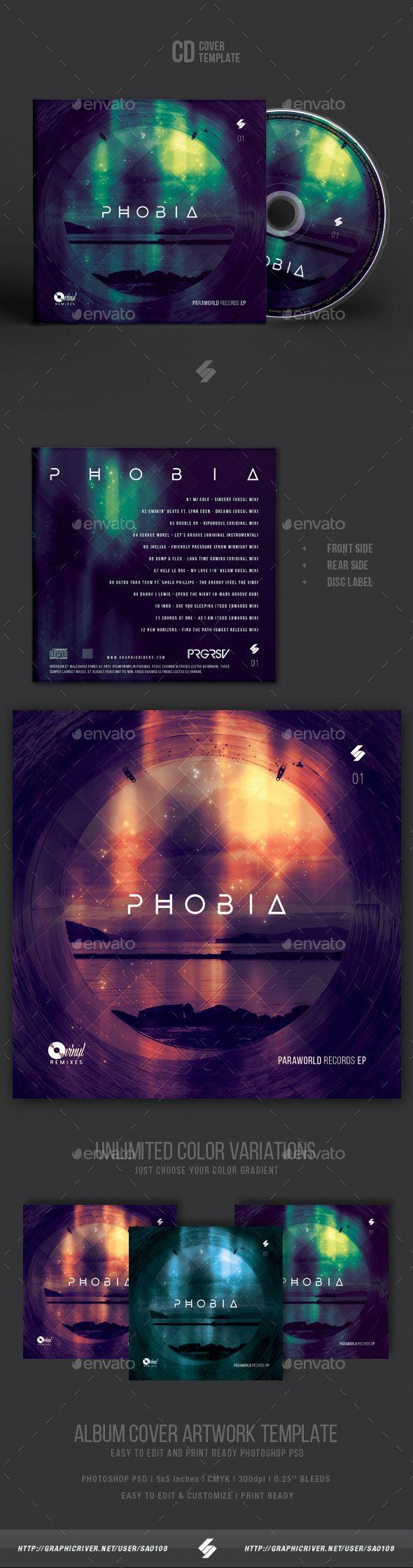 Phobia - Progressive Sound CD Cover Template PSD