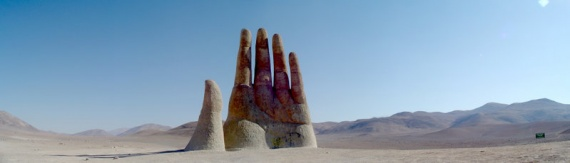 The hand of the desert. A giant hand sculpture in the Atacama