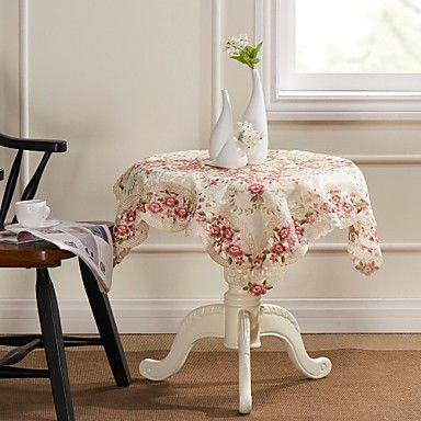 Rose Heavy Embroidery Cutwork  Square Table cloth – USD $ 9.99