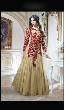 Exquisite Beige Net Party Wear Gown Gowns Designer Womens