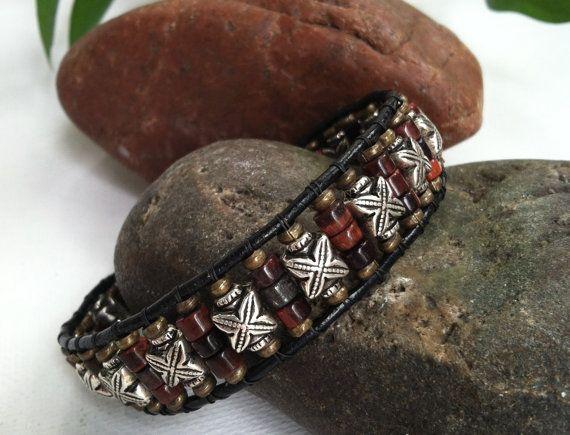 Men's Bracelet, Mens beaded bracelet, cool mens leather bracelet, men's gift, mens christmas gifts, bracelet for guys, gifts for him