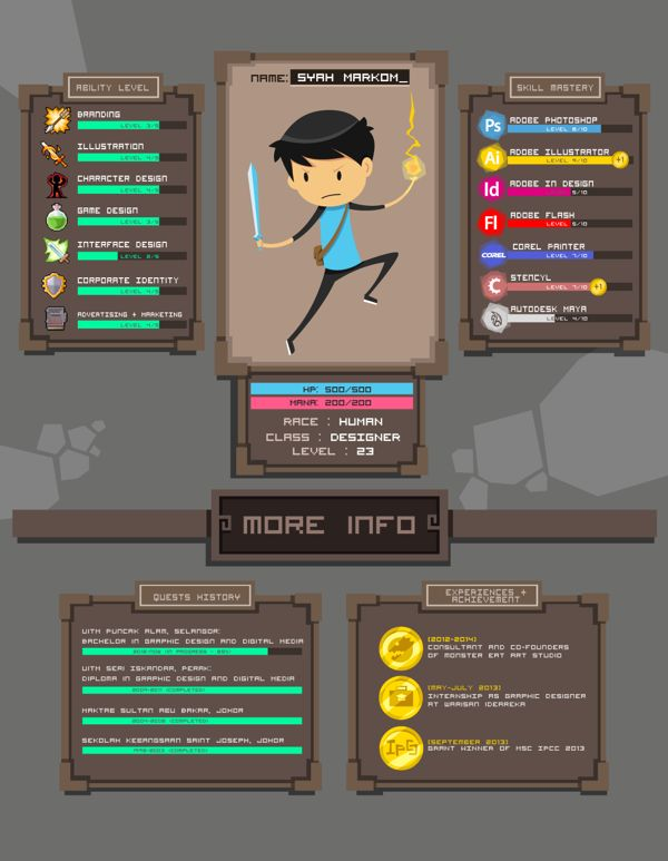 My Game Screen Portfolio by Syah Markom, via Behance