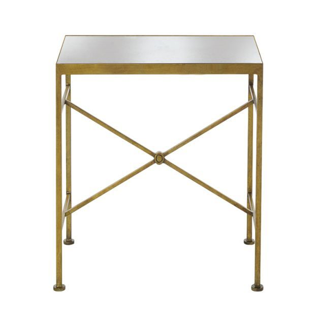 Directoire Side Table   Gold Leaf Metal Base With Antiqued Mirror Top