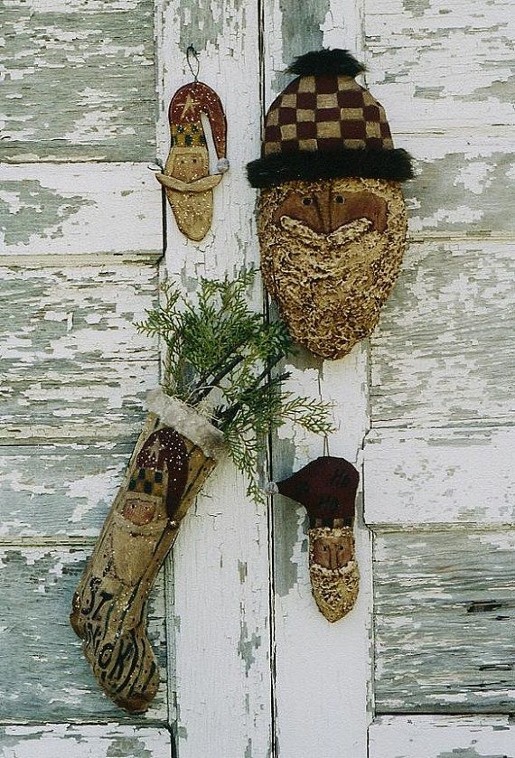 Primitive Christmas Pattern EPattern Santa Head ~Ornaments & Stocking by Hickety Pickety, $5.00  www.sonjasandell.com