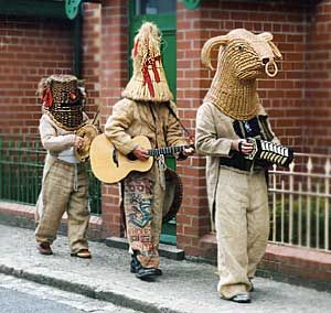 Mummers performing in Mayday celebrations in Ulster Folk and Transport Museum, County Down