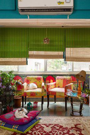 Colour simply brighten ups the living space. #design #homedecor #indiacircus #livingroom #inspiration